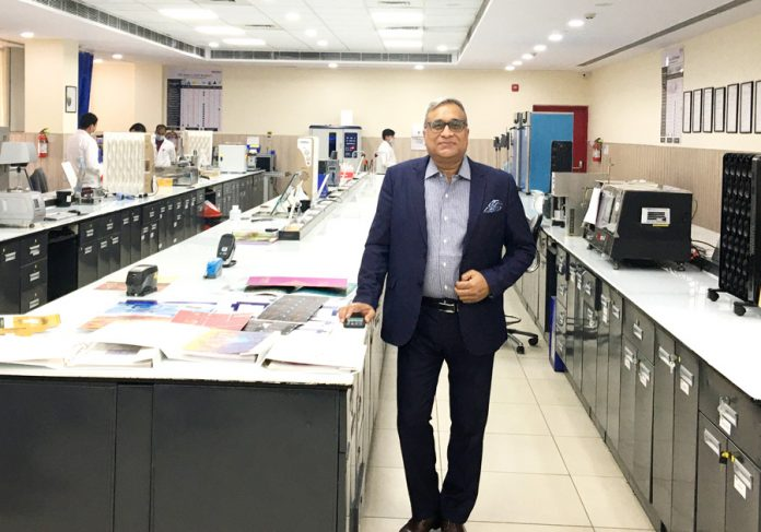 Rajesh Srivastava, VP Sales and Marketing at Chemicals Business, UFlex, in one of the state-of-the-art labs at the Sector 57 plant in Noida, in the Delhi NCR