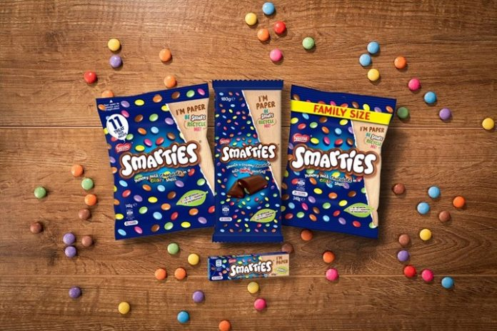 Smarties in the new Amcor sustainable packaging for Nestle