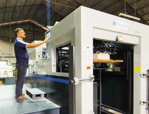 The built in China diecutter installed at Sterling Print House incorporate several automation features designed by Robus Engineers. Photo Sterling Print House