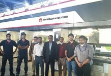 The Meghna flexible packaging team in front of the new W&H Heliostar II rotogravure press Photo W&H